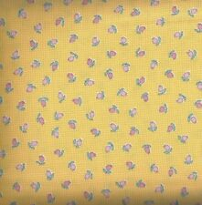 Penny's Dollhouse screamin yellow pink rosebuds pindots Kaufman fabric