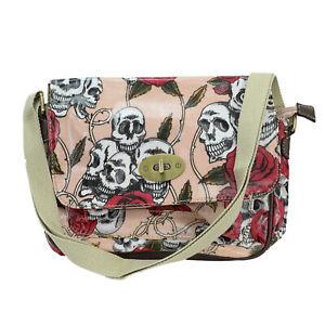 Satchel Oilcloth Skull retro Rose Print Small/mini cross body messenger Bags