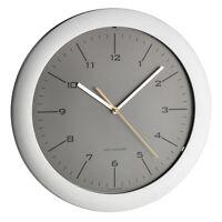 Design Wand Uhr Funkuhr besonders leise grau - silber, 305 mm Ø 60.3512.10