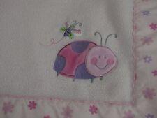 Just Born Ladybug Baby Blanket Pink Daisy Flowers Satin Trim Security Lovey