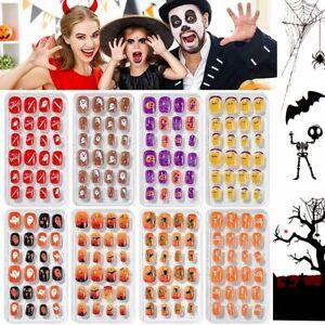 24Pcs/set Halloween Fake Nail Short False Nail Tip Full Cover Nail Tips Children