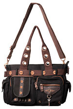 Banned Steampunk Vintage lock & key Shoulder Bag Handbag Nero Marrone Rame