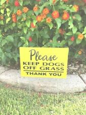 """11.95 for 2 Signs 2 stakes Keep Dogs Off Grass Yard Lawn Signs 12"""" x 8"""" yellow"""