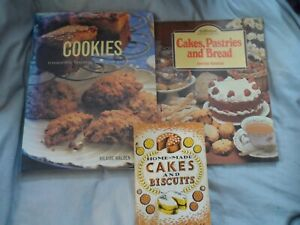 3 x baking cookery book bundle cakes biscuits retro bread pastries