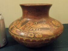 Primitive Mayan Terracotta Vessel w Warriors Certificate of Auth. Pre-Columbian