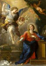 A Oil painting The annunciation angel holding white flowers with Madonna MARY 36