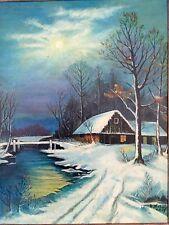 1959 Oil Painting Remote Cabin Moonlit Winter Scene Folk Art Beauty! Oak Frame