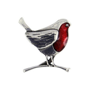 St Justin Pewter  Enamelled Brooch      A Robin on Branch