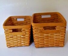 Rectangle Shape Woven Wicker Wood Baskets With Handles 2-Piece Set