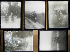 Lot de 25 photos anciennes négatifs sur plaque de verre portraits Art déco 1930