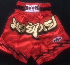 "Boon Sport ""CLASSIC"" Muay Thai Shorts — RED — ""XL"". (Style B300)."