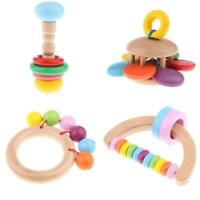 Pack of 4 Handcrafted Wooden Baby Rattle & Clutching Toy Montessori Toys