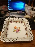 "Antique Bavaria Schumann Eleanor Reticulated Lace Edge 8 1/4"" Square Dish"