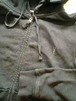 Mens AllSaints Grey Zip Up Grey Hoodie Size M Medium