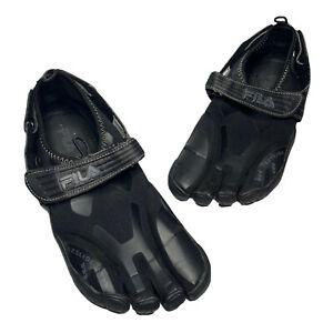 Men's Fila Skele Toes Barefoot Water Black Shoes Size 9 Skeletoes EZ Slide