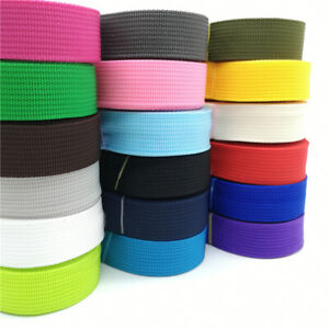 NYLON POLYPROPLYLENE WEBBING STRAPPING DOG LEAD COLLAR 25mm by mtr 45 colours