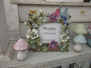 Bilderrahmen 6,5 x 6 cm Metall emailliert quadratisch Blüten, Schmetterling bunt