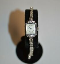 Vintage 14K White Gold and Diamond Ladies Wristwatch with Gold and Diamond Band