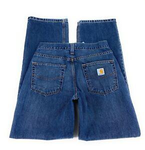 Carhartt Men's Relaxed Fit Wide Leg Mid Rise Cotton Blend Blue Jeans 30x32