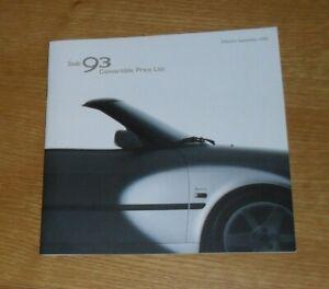 Saab 93 Convertible Price List Brochure 2002-2003 SE Aero 2.0t 2.0T HOT
