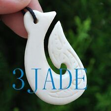 Hand Carved Bone Fish Hook Hei Amulet Pendant New Zealand Maori Style Carving