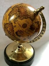 Attractive Reproduction Antique Globe On Green Marble Plinth Works History Map