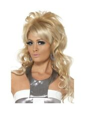 LADIES LONG BLONDE WIG 1960S THEMED BOUFFANT CURLY FANCY DRESS 60S WIG