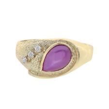 1.50 Carat Star Man Made Ruby With 0.07 Carat Diamonds Ring 14K Yellow Gold