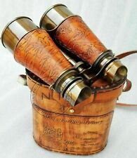 Antique Brass Binoculars Royal Navy Binocular Spyglass With  Leather Box