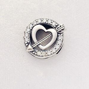 Reflexions Asymmetric Heart And Arrow Clip Charm - 797793CZ PANDORA Genuine
