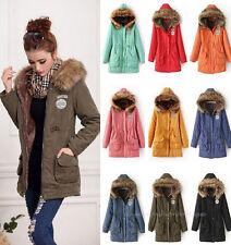 Women's Winter Fleece Parka Coats Faux Fur Trim hooded Military Jacket Black 3XL