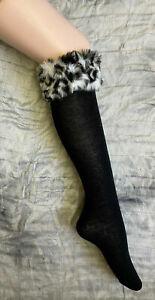 Black Socks Knee High Faux Fur Fluffy Cuff Top Welly Wellie One Size C12