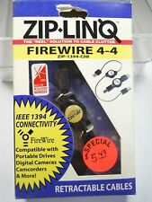 Zip-Linq Firewire 4-4 IEEE1394 Retractable Cables (New Old Stock)(QTY 1 ea)ALT
