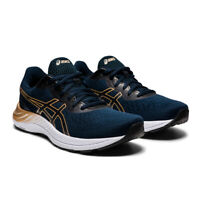 Asics Womens Gel-Excite 8 Running Shoes Trainers Sneakers Gold Navy Blue Sports
