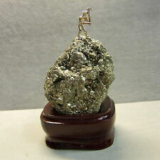 9 ct GOLD  new gold rush miner on ( fools gold ) pyrites with stand