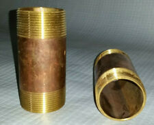 """Two (2) 1 1/2"""" X 4"""" Solid Brass Threaded Plumbing Nipples Lead Free Seamless NEW"""