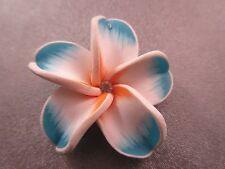 Hawaii Plumeria Flower Polymer Clay w/ Rhinestone 40mm Blue/White Pendant 1pc