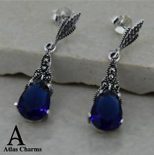 Marcasite Blue Sapphire CZ Stud Earrings 925 Sterling Silver Long Drop Jewellery