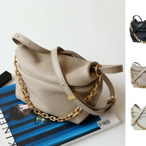 Mini Real Leather Chain Clutch Draped Pouch Crossbody Shoulder Bag Purse Tote