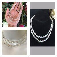 "Vintage Crystal Aurora Boralis AB Beads Double Strand Necklace 14.5"""