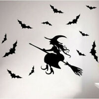 Halloween Flying Witch Broom Bat Wall Sticker Kids Room Horror Decoration WE