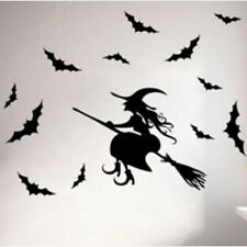 Halloween Witch Bat Decoration Wall Paper Art removable Sticker L