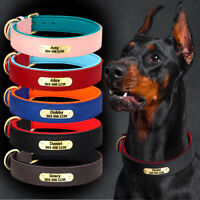 Soft Leather Dog Collar Personalised Pet ID Name Engraved Neoprene Padded S-2XL