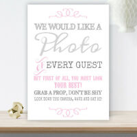 Grey and Pink Photo Booth Table Sign for Wedding Party Props Pearlised Card GP7