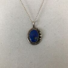 Exquisite Vintage Native American Sterling Silver and Lapis Pendant and Chain