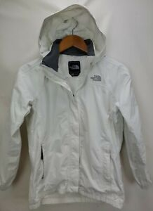 The North Face Girls Hyvent Rain Jacket Size Large White Waterproof Hooded Zip