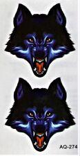 Wolf Wild Kopf Jagd Blut Wald Temporary Temporäre Klebe Tattoo  5,5x10,5cm AQ274