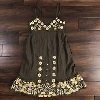 Anthropologie Lithe Sz 0 Petite Brown Floral Embroidered Ryegrass Linen Dress