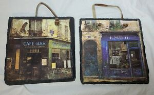 Emelie Bar Cafe Black Slate Wall Hanging Plaque Painted Cafe square sign 2 lot