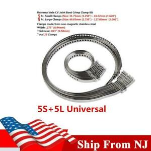 10PCS Car Stainless Steel Drive Shaft CV Boot Clamp Kit Universal Large +Small